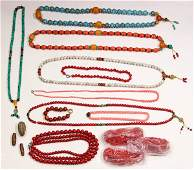 Collection of dyed coral, glass and plastic beads