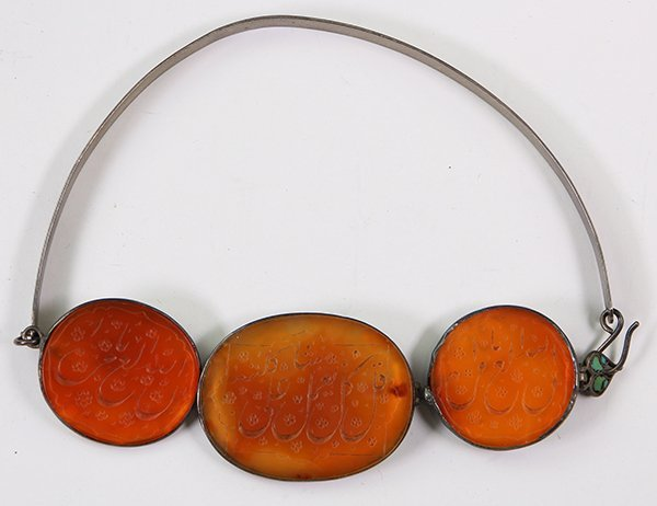 Large Arabic carved carnelian and silver necklace