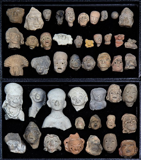 (lot of 45) Collection of Pre-Columbian terracotta head