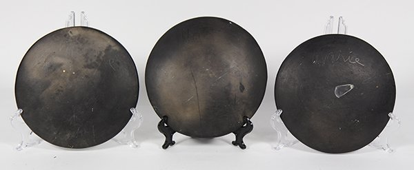 (lot of 3) Marie Santana San Ildefonso blackware plates - 2