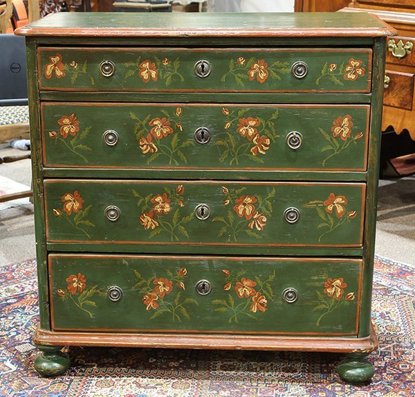 American green painted pine chest of drawers, 19th