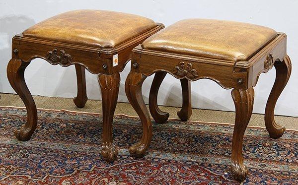 Pair of English oak footstools