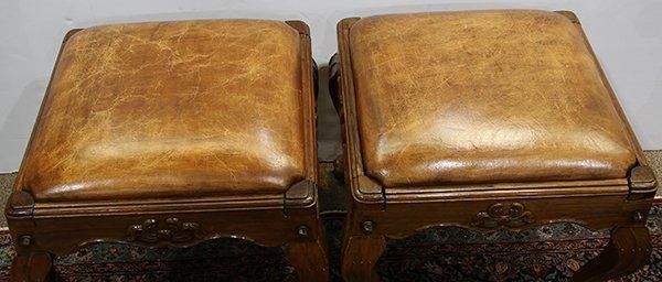 Pair of English oak footstools - 3