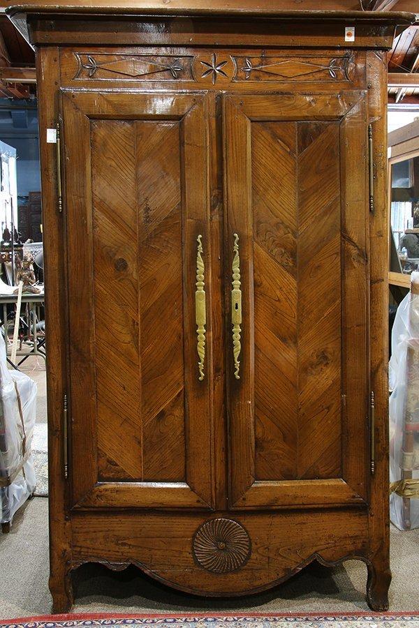 French Provincial two door linen press circa 1800