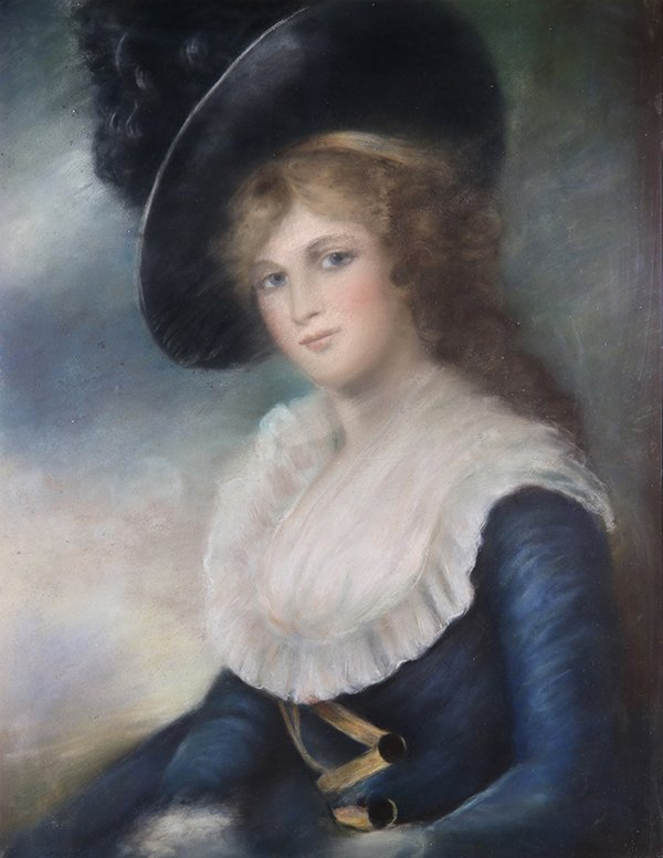 Drawing, Portrait of a Lady in Blue