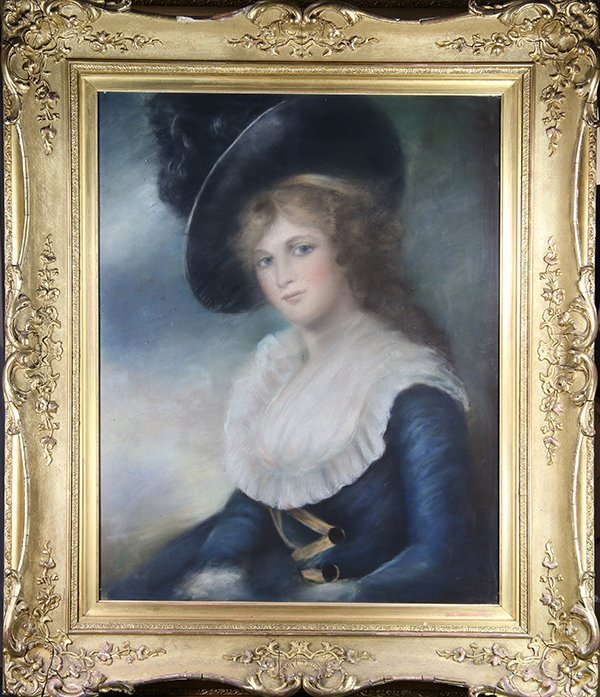 Drawing, Portrait of a Lady in Blue - 2