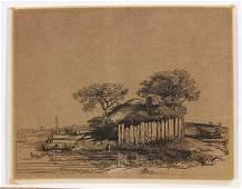 Print, Rembrandt van Rijn, Cottage with a White Paling