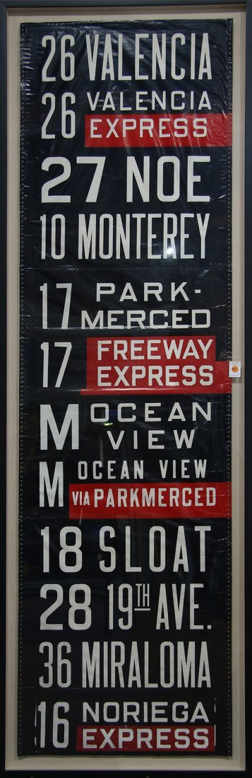 San Francisco MUNI bus sign (26 Valencia) set in a
