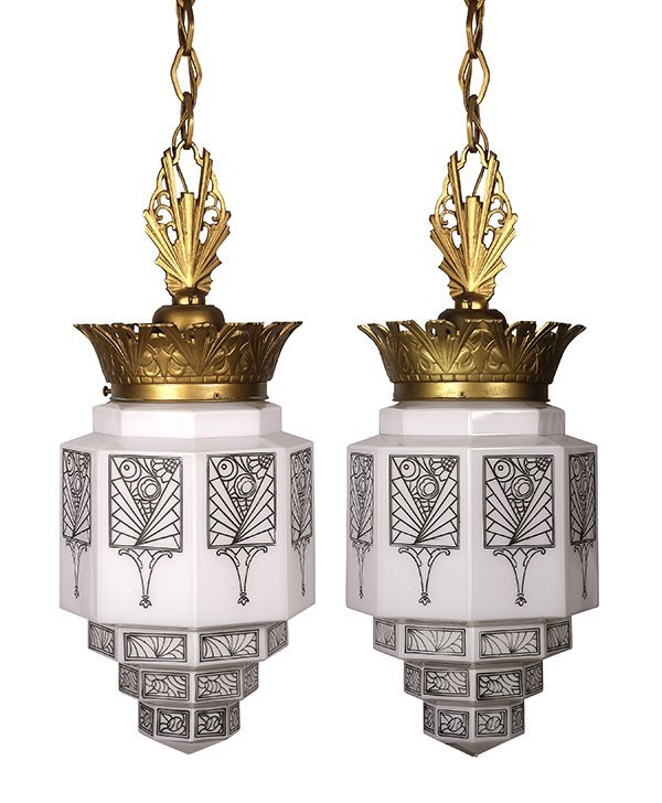 Pair of American Art Deco hanging fixtures