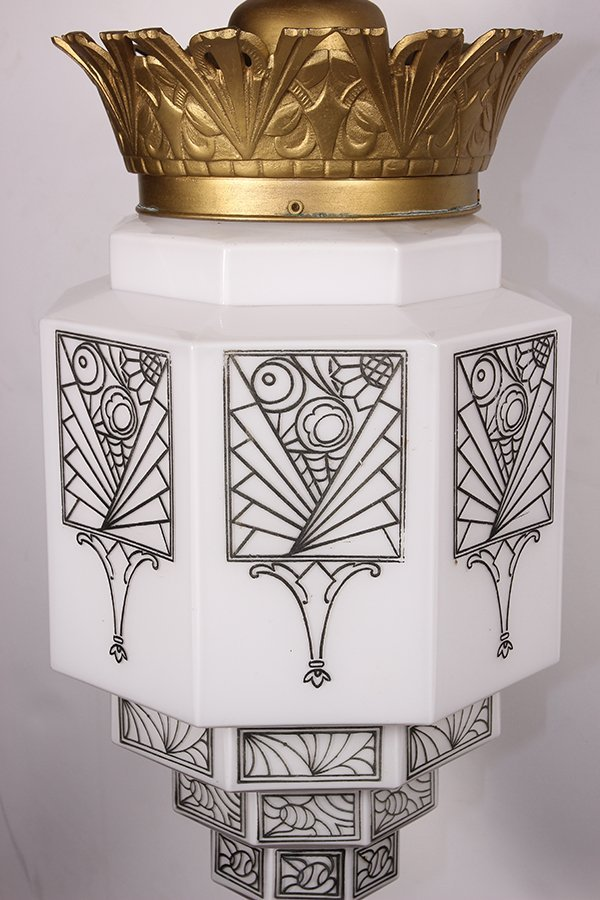 Pair of American Art Deco hanging fixtures - 6