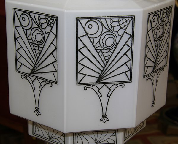 Pair of American Art Deco hanging fixtures - 9