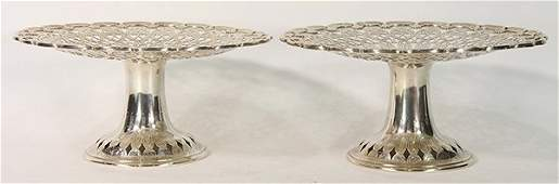 Pair of Tiffany  Company sterling silver compotes