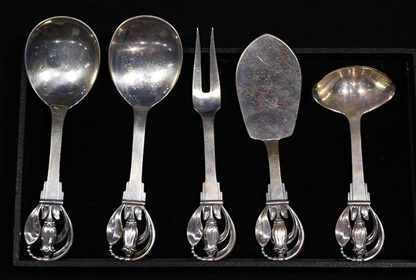 (lot of 5) Danish Modern sterling silver serving pieces