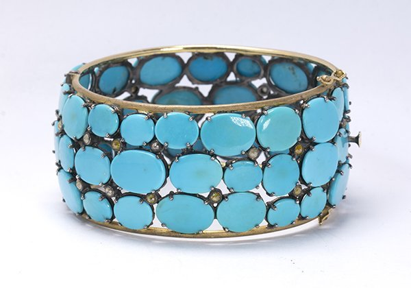 Turquoise, diamond, sterling silver and 14k yellow gold