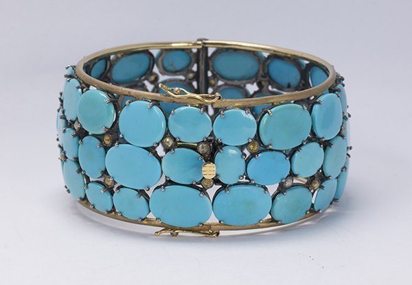 Turquoise, diamond, sterling silver and 14k yellow gold - 2