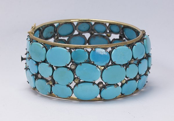 Turquoise, diamond, sterling silver and 14k yellow gold - 3