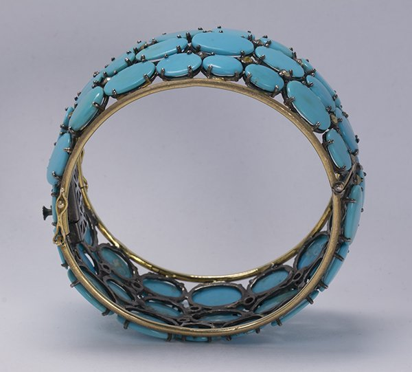 Turquoise, diamond, sterling silver and 14k yellow gold - 4
