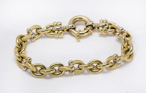 18k two tone gold link bracelet