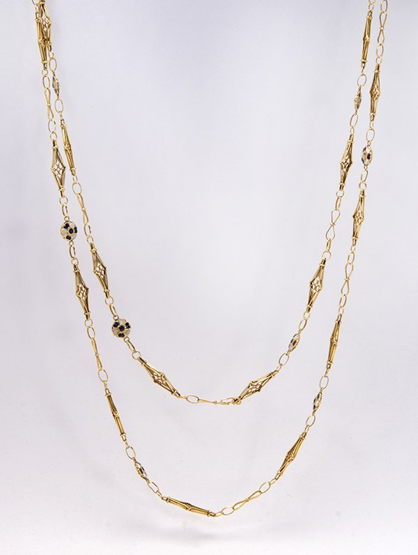 Enamel and 14k yellow gold forget-me-not link chain