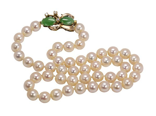 Cultured pearl, diamond, jadeite and 14k yellow gold