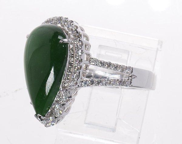 Jadeite, diamond and 18k white gold ring - 2