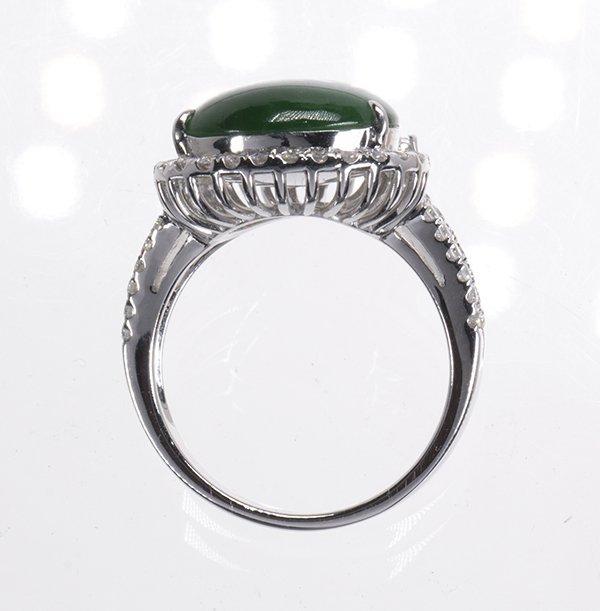 Jadeite, diamond and 18k white gold ring - 3