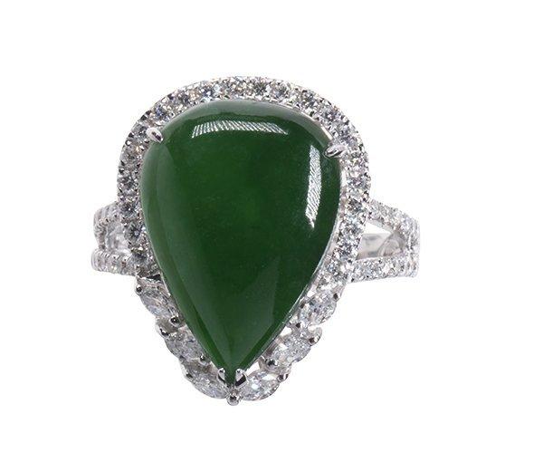 Jadeite, diamond and 18k white gold ring - 4