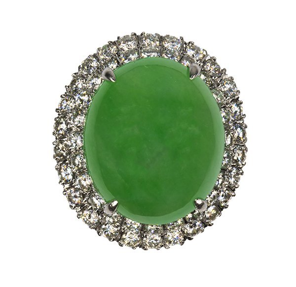 Jadeite, diamond and platinum ring, GIA report