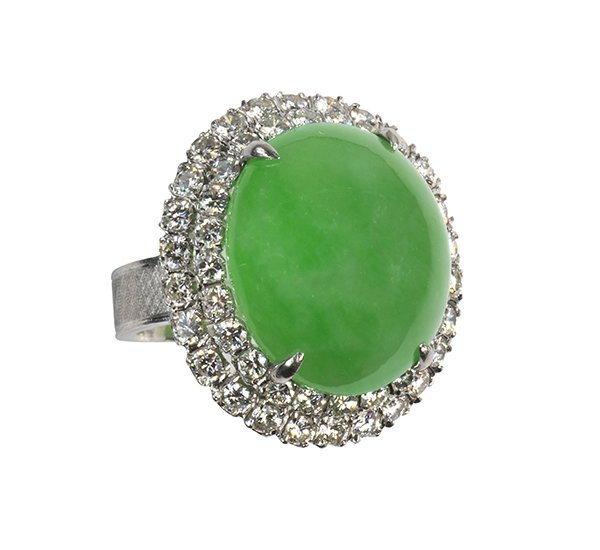 Jadeite, diamond and platinum ring, GIA report - 2