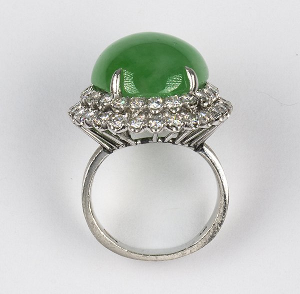 Jadeite, diamond and platinum ring, GIA report - 4