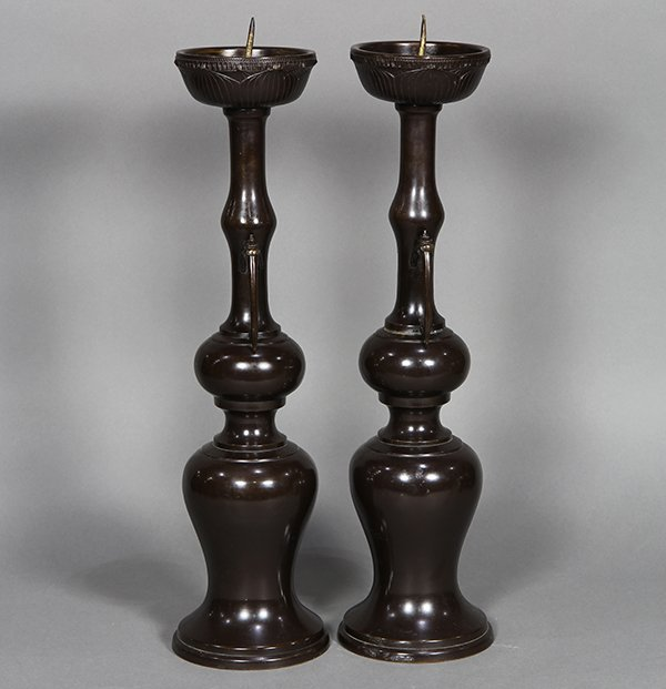 Pair of Japanese Bronze Shokudai, Candle Holders, 19c - 4