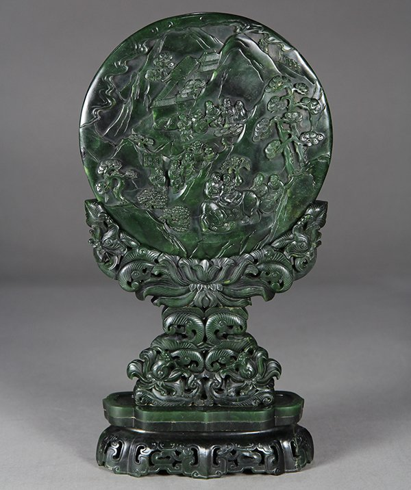 Chinese Spinach Jade Table Screen, Tribute