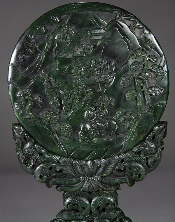 Chinese Spinach Jade Table Screen, Tribute - 4