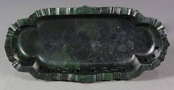 Chinese Spinach Jade Table Screen, Tribute - 5