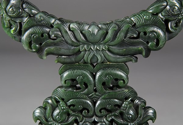 Chinese Spinach Jade Table Screen, Tribute - 6