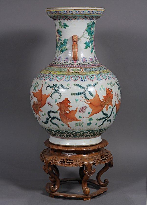 Chinese Porcelain Vase, Goldfish - 2