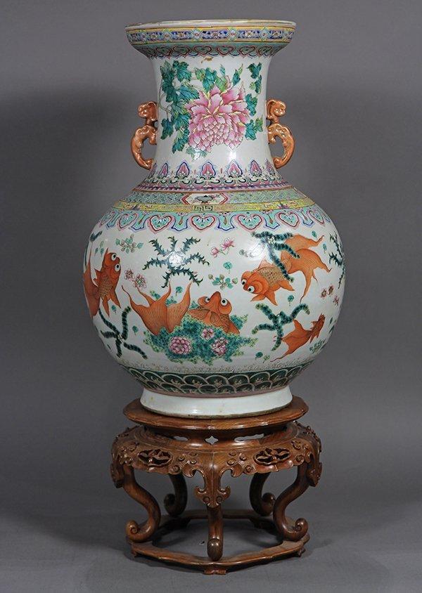 Chinese Porcelain Vase, Goldfish - 3