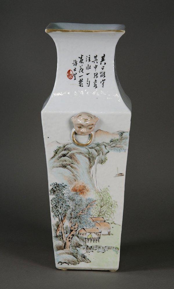 Chinese Porcelain Square Vase - 5