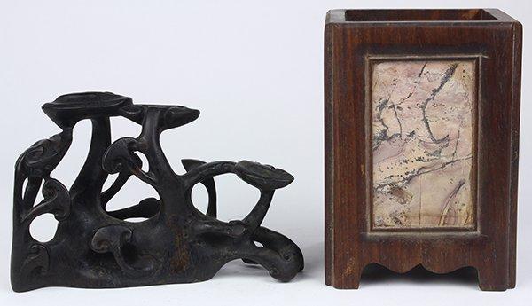 Chinese Wood Brush Pot/Lingzhi Carving
