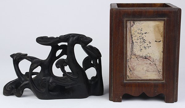 Chinese Wood Brush Pot/Lingzhi Carving - 3