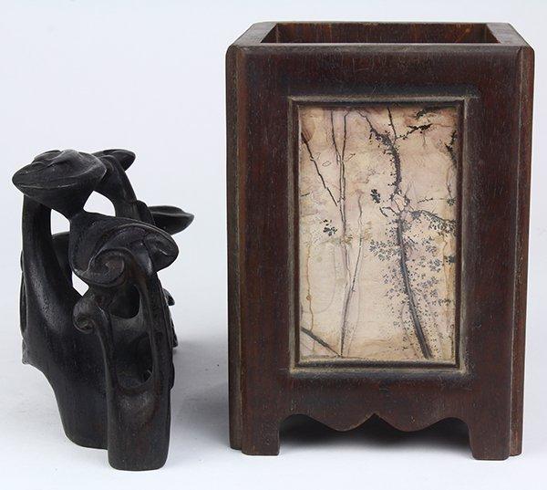 Chinese Wood Brush Pot/Lingzhi Carving - 4