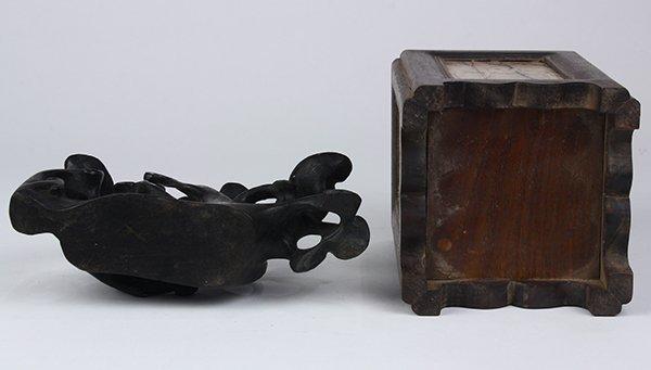 Chinese Wood Brush Pot/Lingzhi Carving - 5