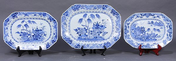 Three Chinese Blue and White Export Platters
