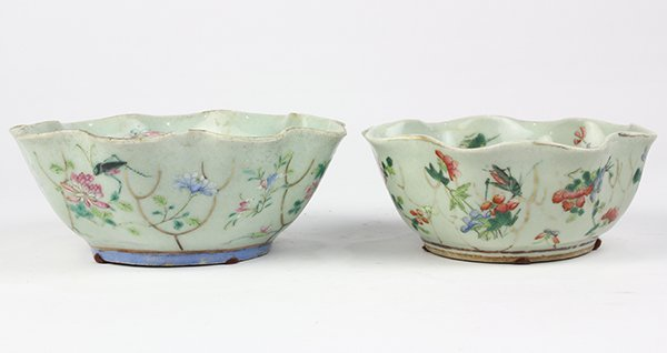 Two Chinese Leaf Form Bowls