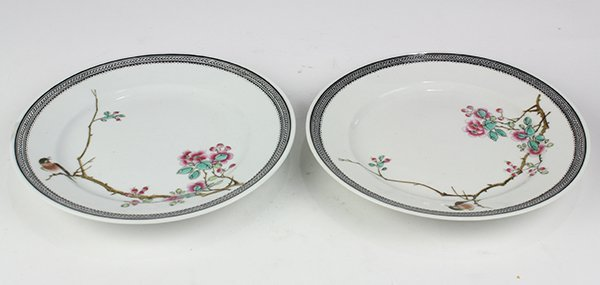 Two Chinese Plates, Bird/Flowers
