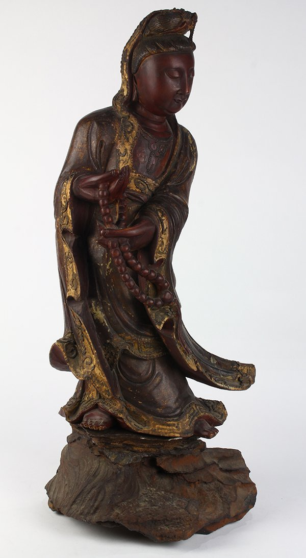 Chinese Wood Figure of Guanyin