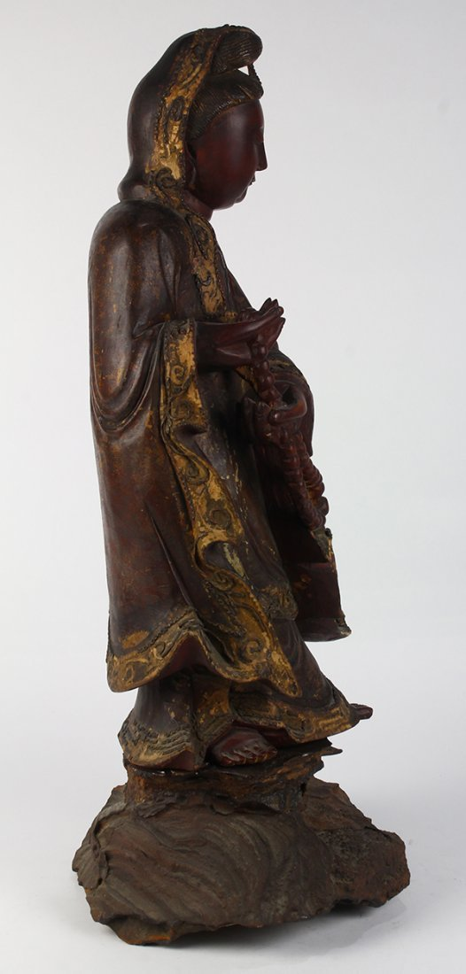 Chinese Wood Figure of Guanyin - 4