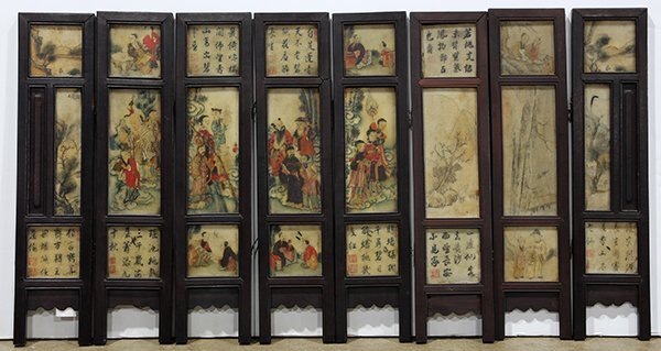 Chinese Eight Panel Polychrome Marble Screen
