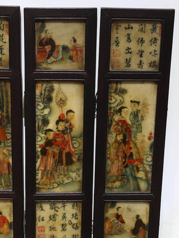 Chinese Eight Panel Polychrome Marble Screen - 2