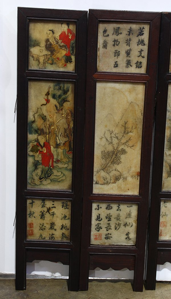 Chinese Eight Panel Polychrome Marble Screen - 3